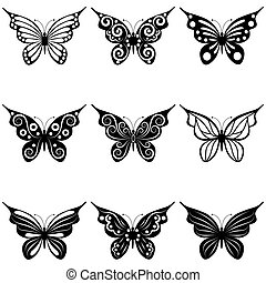 A set of butterflies - A set of nine different forms of...