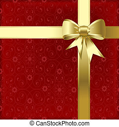 Christmas bow - Gold christmas bow on a red background