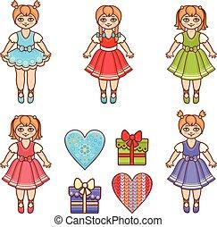 Little Ballerina. Cartoon style. Baby Doll.