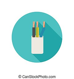 Electrical cable icon - Electrical cable vector icon with...