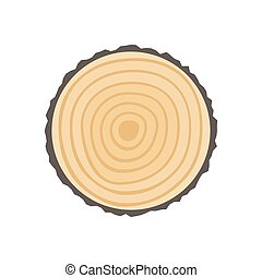 Saw cut tree trunk with Tree rings. Vector flat...