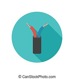 Electrical cable icon. - Electrical wire icon with long...