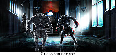 Fantasy illustration two humanoid monsters or mutants