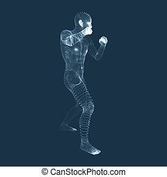 Boxer. Fighting Man. 3D Model of Man. Human Body Model. Body...