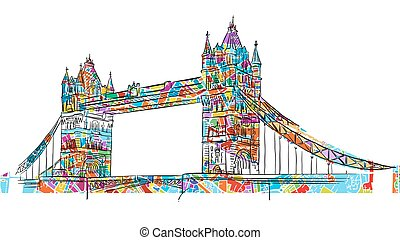 Colored London Tower Bridge Symbol, hand-drawn Outline...