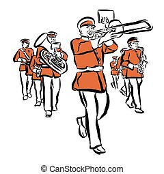 Red Colored Marching Band Illustration, hand-drawn vector...