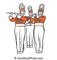 Red Colored Military Band Illustration, hand-drawn vector...