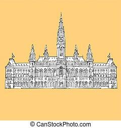 Vienna City Hall Vector Sketch