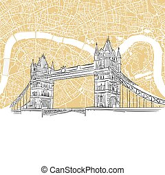 London Tower Bridge with Colored Map, Hand-drawn Outline...