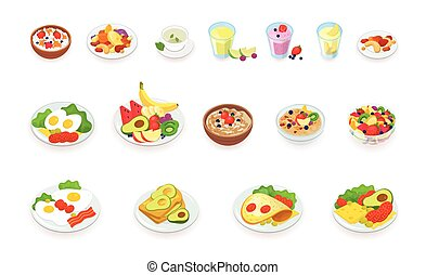 Healthy breakfast food icons collection. Muesli, cereal, fruits and berries, nuts, eggs, omelet, avocado, smoothie, drinks, sandwich. vector illustration set.
