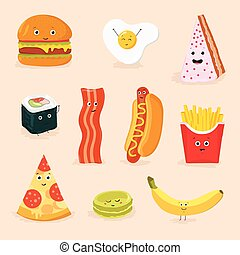 funny food cartoon characters isolated vector illustration. face icon pizza, cake, scrambled eggs, bacon, banana, burger, hot dog, roll, french fries.