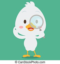 Swan with magnifying character vector collection stock