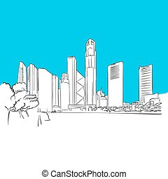 Singapore Republic Plaza Vector Sketch, hand-drawn outline...