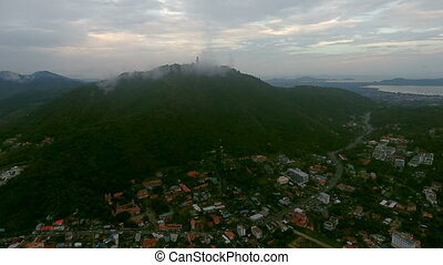 Aerial view of one of the districts of Phuket in cloudy day,...
