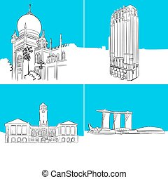 Singapore Famous Buildings Vector Sketches, hand-drawn...