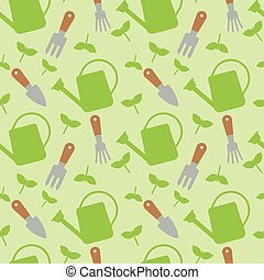 Seamless pattern with watering cans and tools for work in...