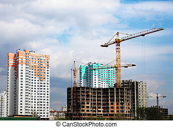 construction of new microdistrict in Kiev city