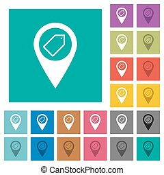 Tagging GPS map location square flat multi colored icons -...