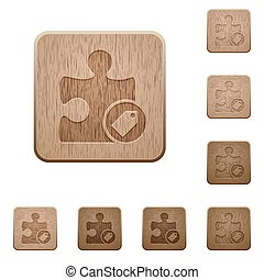 Tag plugin wooden buttons - Tag plugin on rounded square...