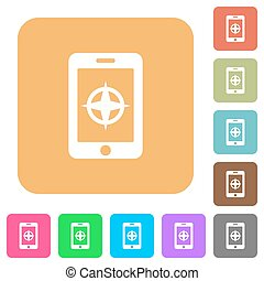 Mobile compass rounded square flat icons