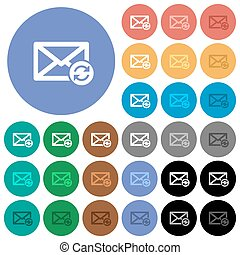 Syncronize mail round flat multi colored icons - Syncronize...