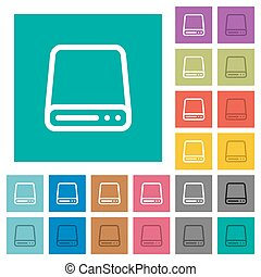 Hard disk drive square flat multi colored icons - Hard disk...
