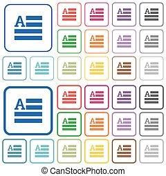 Text initials outlined flat color icons - Text initials...