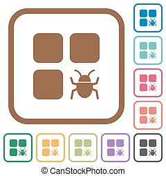 Component bug simple icons in color rounded square frames on...