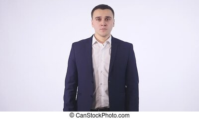 Angry Businessman On white Background.