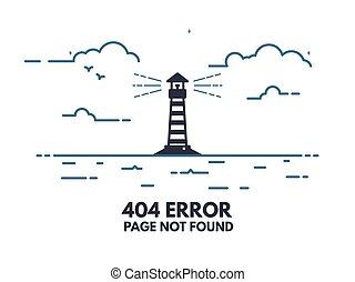 Light house 404 - 404 error page flat line concept. Link to...