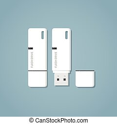 USB flash drive - Open and closed white USB 3.0 flash drive...