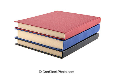 three books - red book. blue book. black book. three books...