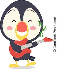 Toucan with guitar character style