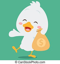Swan with money character style vector illustration