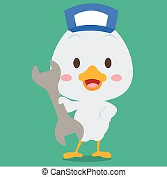 Mechanic swan character design vector illustration...