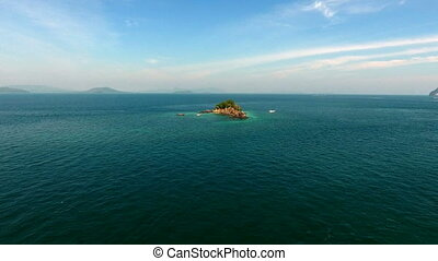 Aerial view, copter flies around the rock in the Indian...