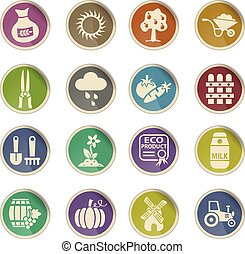 agriculture icon set - agriculture web icons on color paper...