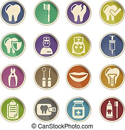 dental office icon set - dental office web icons on color...