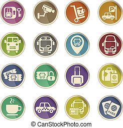 bus station icon set - bus station web icons on color paper...
