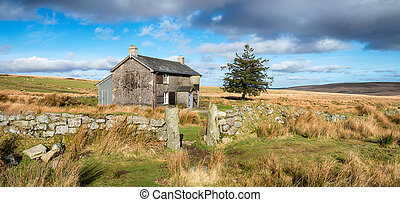 Dartmoor National Park - An old farmhouse near Princetown on...