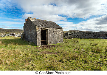Merrivale on Dartmoor - A old stone hut at Merrivale on...