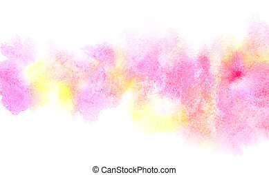 Colorful diffluent watercolor stripe. Vivid abstract...