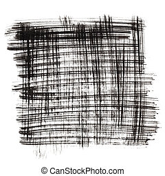 Square by black ink strokes isolated on the white...
