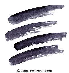 Long black brush strokes - Set of long black brush strokes...