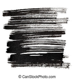 Black brush strokes isolated on the white background....