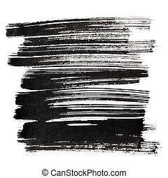 Black brush strokes isolated on the white background....