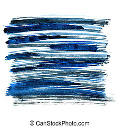 Blue brush strokes isolated on the white background....