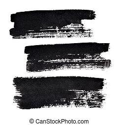 Black bold brush strokes - Set of black bold brush strokes...