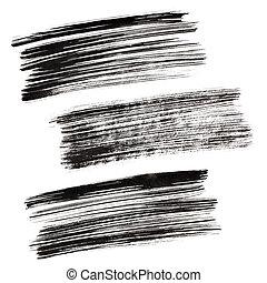 Black brush strokes - Set of black brush strokes isolated on...