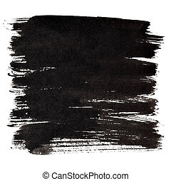 Black thick brush strokes isolated on the white background....